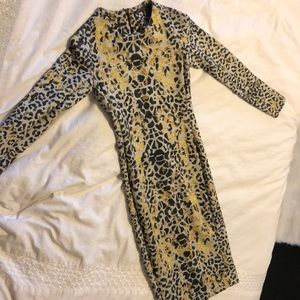 Zara collection midi dress leopard